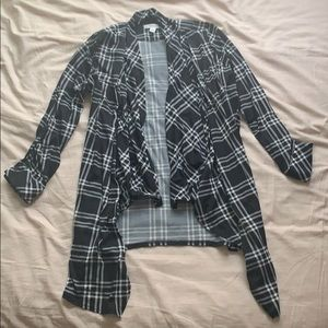 Black and White Flannel Cardigan